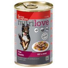 Nutrilove Beef, Liver and Vegetables - консервы Нутрилав Говядина, печень и овощи в желе для собак
