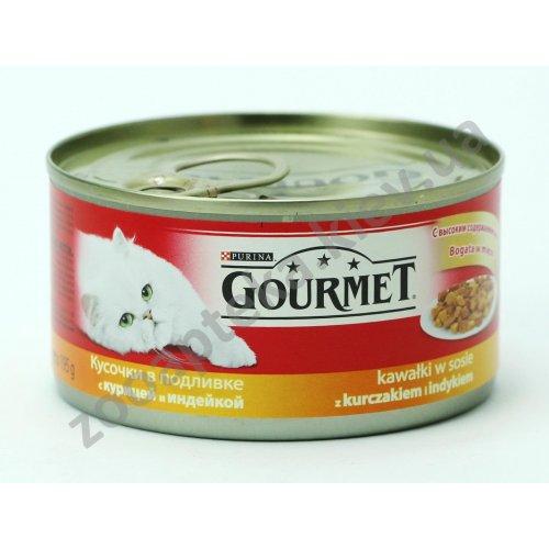 Gourmet Red - корм Гурмет Кусочки в подливке с курицей и индейкой для кошек