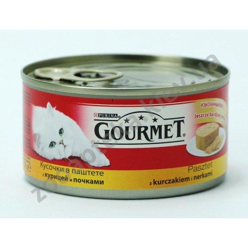 Gourmet Red - Гурмет кусочки в паштете с курицей и почками для кошек