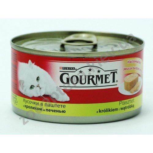 Gourmet Red - Гурмет кусочки в паштете с кроликом и печенью для кошек