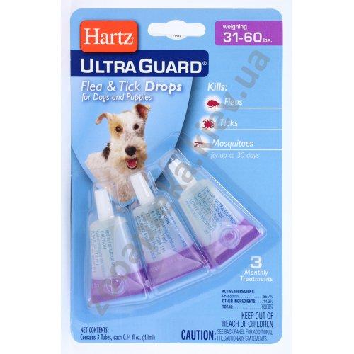 Hartz Ultra Guard - капли от блох, клещей и комаров Хартц 3 в 1 для собак и щенков от 14 до 27 кг