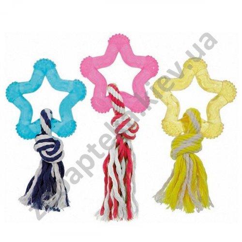 Karlie-Flamingo Good4Fun Star With Rope - игрушка из латекса с веревкой Карли-Фламинго для собак