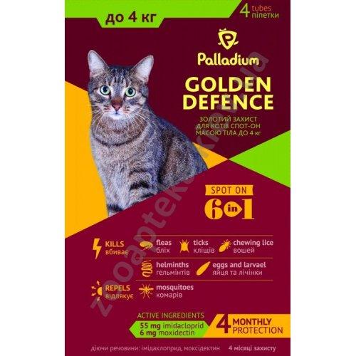 Palladium Golden Defence - капли на холку Палладиум от паразитов для кошек весом до 4 кг