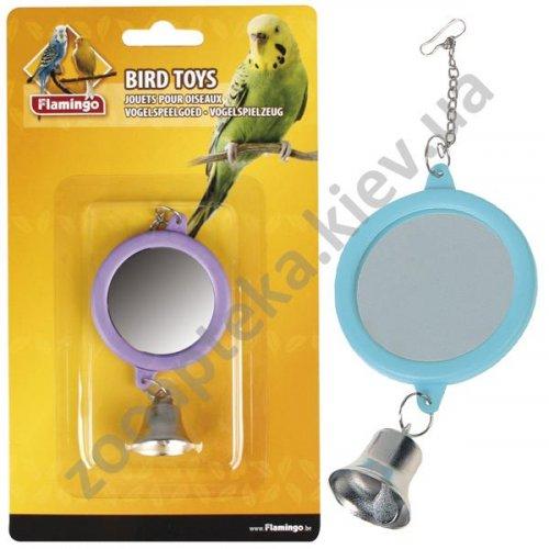 Karlie-Flamingo Mirror Round Bell - круглое зеркальце колокольчик для попугайчика