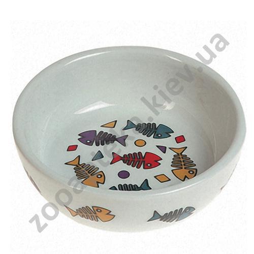 Karlie-Flamingo Color Fish - керамическая миска с рисунком рыбы Карли-Фламинго для кошек