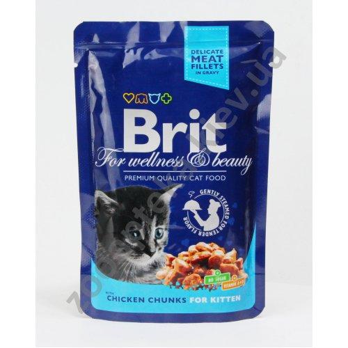Brit Premium Kitten - корм Брит кусочки с курицей для котят