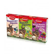 Sanal 3-Pack Drops - мультивитаминные лакомства Санал 3 х 45 г Йогурт, Салат, Лесная ягода
