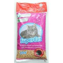 Super Cat - древесный наполнитель Супер Кет с ароматом лаванды для кошачьего туалета, фиолетовый