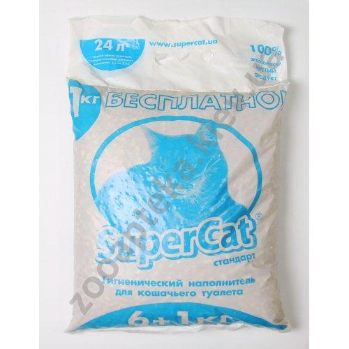 Super Cat - древесный наполнитель Супер Кет Стандарт эконом для кошачьего туалета, синий