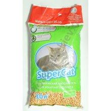 Super Cat - древесный наполнитель Супер Кет с ароматизатором для кошачьего туалета, зеленый
