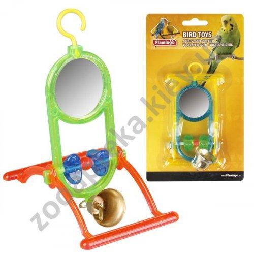 Karlie-Flamingo Mirror With Bell - зеркальце с колокольчиком Карли-Фламинго для попугаев