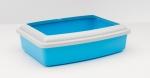 Savic TRAY+RIM OVAL MEDIUM STANDARD COLOURS - туалет Савик с бортиком для котов овальный средний, цвет голубой